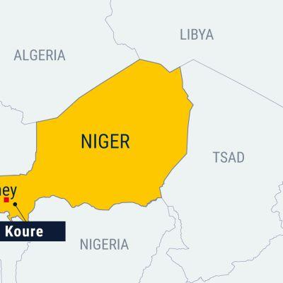 Nigerin kartta, Koure ja Niamey merkitty