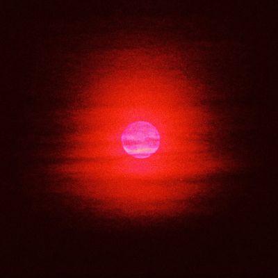 Teoskuvassa kirkkaan vaaleanpunainen taivaankappale, mahdollisesti kuu, loistaa punaisena mustaa taivasta vasten