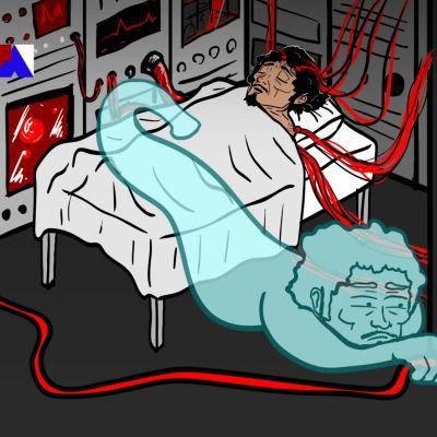 Piirros miehestä teho-osastolla. Hänen sielunsa haluaa ottaa hengityskoneen töpselin irti.