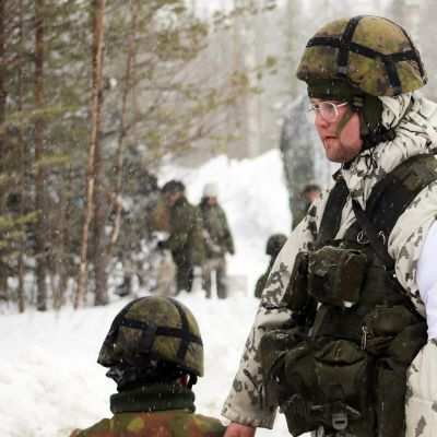 Suomalaiset sotilaat viiden maan sotilasharjoituksessa Kalixissa Ruotsissa.