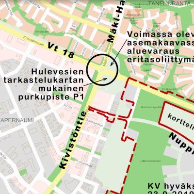 Kartta Seinäjoen Roveksen alueesta Kuortaneentien kohdilta.