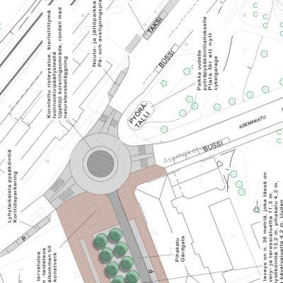 Kartta suunnitellusta liikenneympyrästä Vaasan juna-aseman edessä