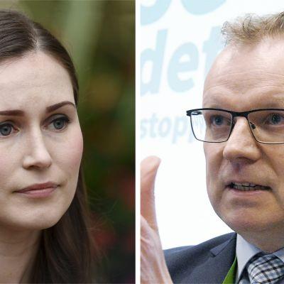 Pääministeri Sanna Marin ja THL:n pääjohtaja Markku Tervahauta.