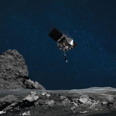 Taiteilijan näkemys avaruusalus Osiris-Rexin laskeutumisesta Bennu-asteroidille.