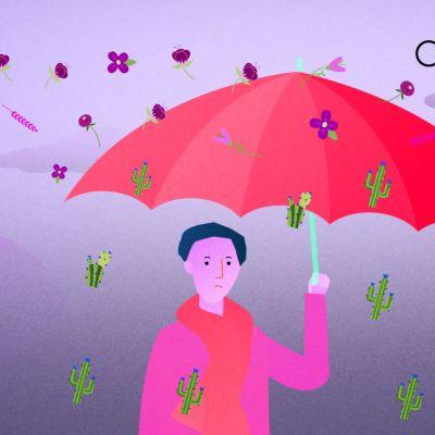 sateenvarjon alla suojassa ilkeiltä sanoilta
