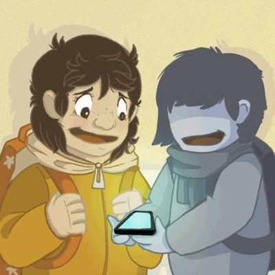 Gif-animaatio lapsista katsomassa hämentävää materiaalia puhelimesta.