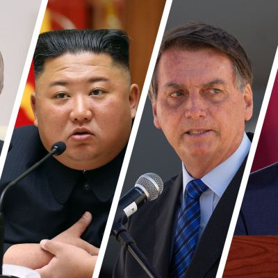 Vladimir Putin, Kim Jong-un, Jair Bolsonaro ja Andres Manuel Lopez Obrador