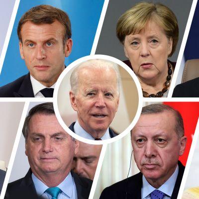 Joe Biden, Justin Trudeau, Emmanuel Macron, Angela Merkel, Hassan Rouhani, Vladimir Putin, Jair Bolsonaro, Recep Tayyip Erdogan ja Mohammed bin Salman