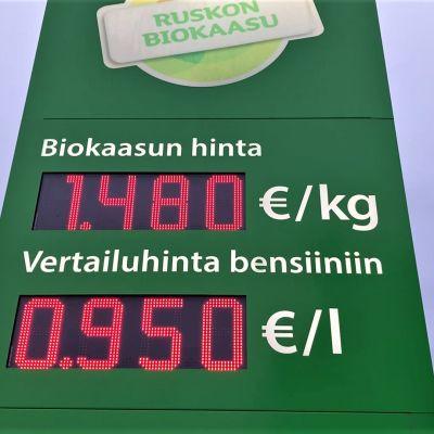 Biokaasuaseman hintatorni.