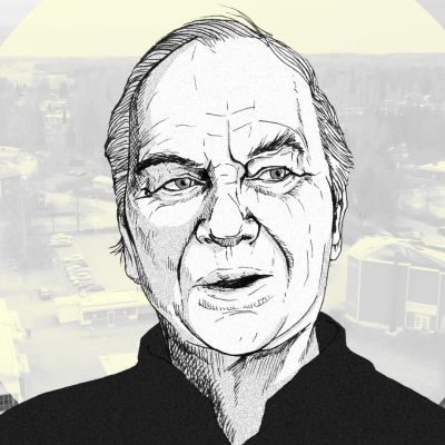 Piirroskuva Matti Puotilasta, taustalla Hattulan ydinkeskusta