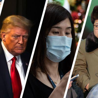 Kuvakoosteessa kiinalaisia sotilaita, Donald Trump, Nainen kasvomaskissa ja Kim Jong-un.