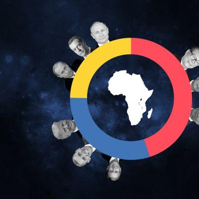 Kuvituksellinen grafiikka, jossa on valtionpäämiesten kasvokuvia.