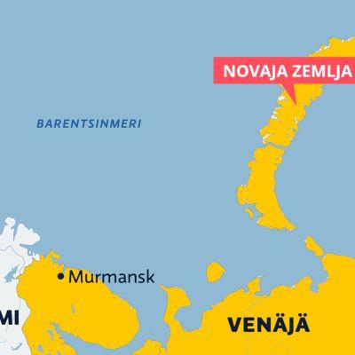 Kartassa näkyy pohjoinen pallonpuolisko, erityisesti Barentsinmeri.