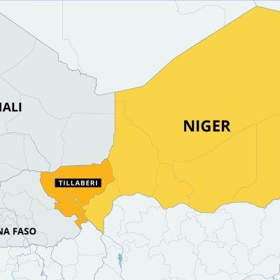 Nigerin kartta, Tillaberin alue. Naapurimaat Burkina Faso ja Mali
