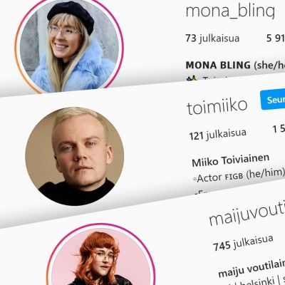 Ruutukaappauksia Instagram-vaikuttajien otsikkosivuista, joissa on tietojen yhteydessä she/her- tai he/him-maininta.