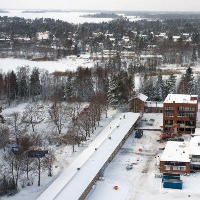 Kemiran vanha tehdasalue Vaasassa (ilmakuva)