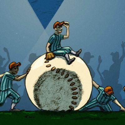 Kuvituskuvassa joukko ihmisiä työntää jättimäistä pesäpalloa, jonka päällä istuu yksi ihminen.