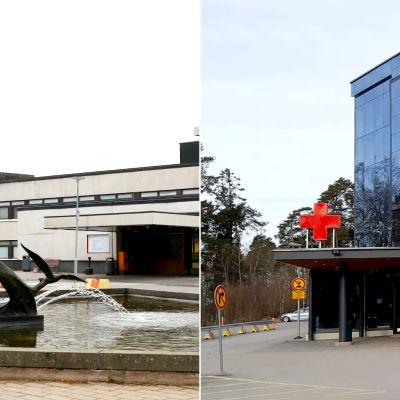 Kollage av Mellersta Österbottens centralsjukhus och Vasa centralsjukhus.