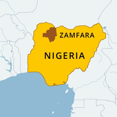 NIgerian kartta, johon on merkitty Zamfara
