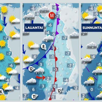 Sääkartta: Perjantaina vielä aurinkoista, viikonloppuna matalapaine sateineen liikkuu Suomen yli kaakkoon.
