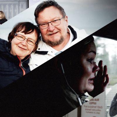 Kuvassa halaava pariskunta, itkevä nainen, suojapukua pukeva hoitaja ja tiedotustilaisuuskuva