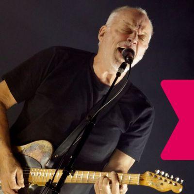 David Gilmour spelar elgitarr och sjunger i en mikrofon.