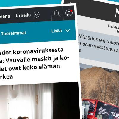 Kuvakaappaus Ylen paikallisuutisten sivulta ja kuvakaappaus Maaseudun Tulevaisuus -lehden sivuilta.