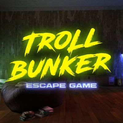 troll bunker escape room game logo.