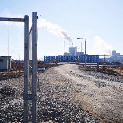 Työmaa-alue -kyltti Metsä Groupin Kemin uuden tehtaan rakennustyömaalla.