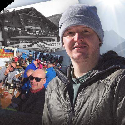 Kuvassa Kitzloch-baarin omistaja, suomalaisia hiihtomatkailijoita Apeilla ja Alppikylä Ischgl