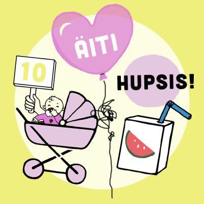 Kuvituskuva, jossa vauva vaunuissa, ilmapallo ja mehupurkki
