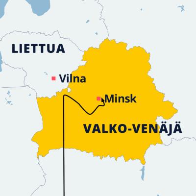 Kartta, jossa näkyy Minsk ja Vilna.