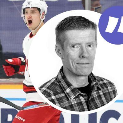 Teuvo Teräväinen och Sebastian Aho firar ett mål.