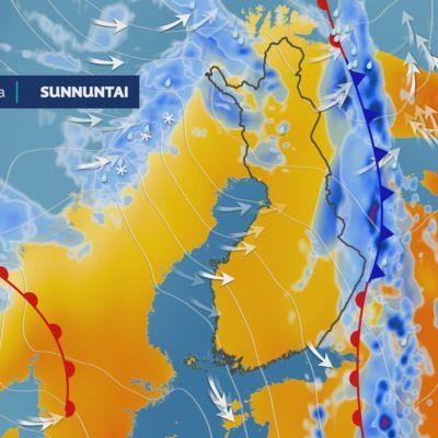Kartta alkuviikon sademääristä 14.-16.6.2021
