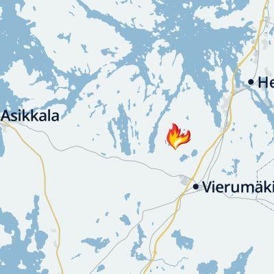 Kartta Värlammintien metsäpalosta Asikkalassa