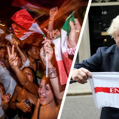 Italian jalkapallokannattajia ja Boris Johnson englannin lipun kanssa