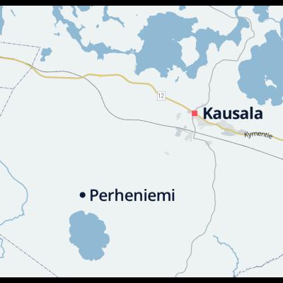 Kartta, jolle on merkitty Iitin Kausala ja Perheniemi