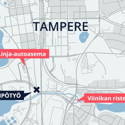 Kaukolämpötyö vaikuttaa Tampereen valtatien liikenteeseen linja-autoaseman ja Viinikan risteyksen välillä.