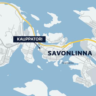 Kartta Savonlinnasta missä näkyy kauppatorin sijainti.