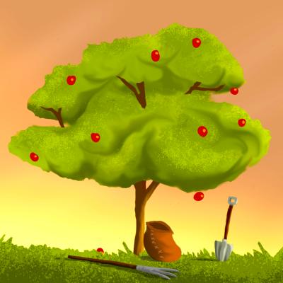 Piirroskuvassa on omenapuu, joka alkaa muuttua syksyiseen väritykseen ja on jo tiputtanut osan omenoistaan.