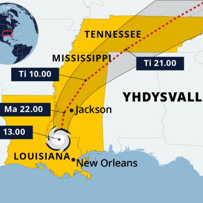 Kartalla hurrikaani Idan reitti Yhdysvalloissa.