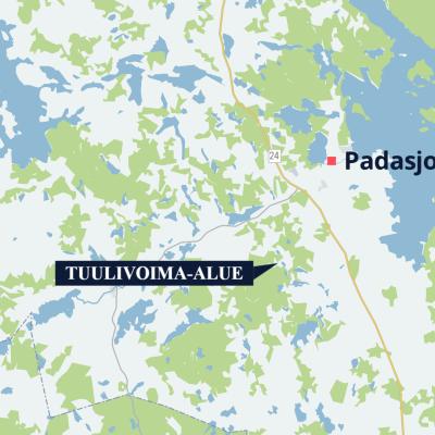 Kartta alueesta, jolle kaavaillaan tuulivoimaa Padasjoella