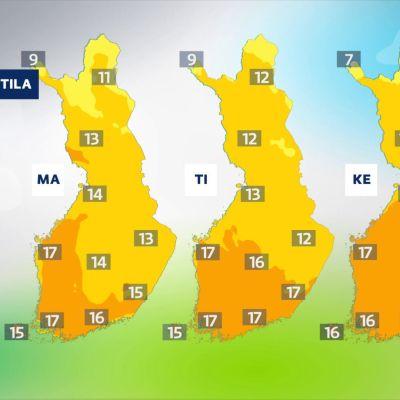 Viikon 36 alun alustavat lämpötilaennusteet sääkartoilla. Sää lämpenee viikonlopun jälkeen.