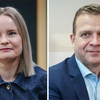 Yhdistelmäkuva Riikka Purrasta ja Petteri Orposta.