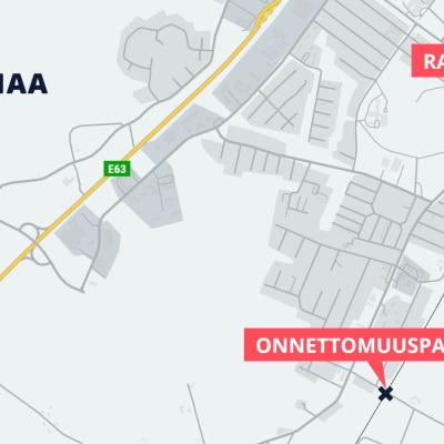Kartta. Tasoristeysonnettomuus Loimaan Hannuntiellä.