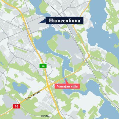 Karttakuva, jossa näkyy Vanajan sillan sijainti ja Hämeenlinna keskusta.
