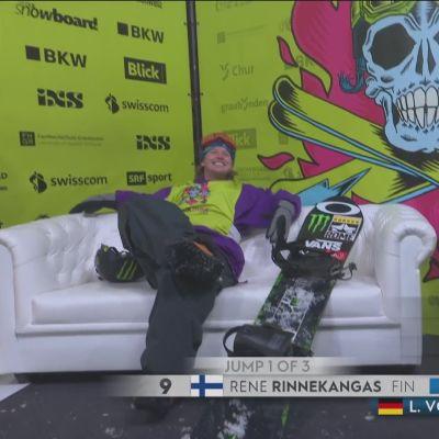 Rene Rinnekangas teki kilpailun parhaan hypyn