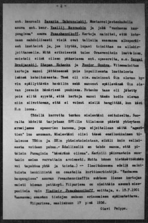 Etsivän keskuspoliisin asiakirjan sivu, Andrej Rudnev mainitaan.