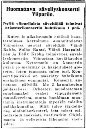 Lehtijuttu Karjalassa: Huomattava sävellyskonsertti Viipuriin