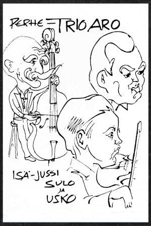 Eka Karppasen piirros Jussi Arosta ja hänen pojistaan Sulosta ja Uskosta 1930-luvulla.